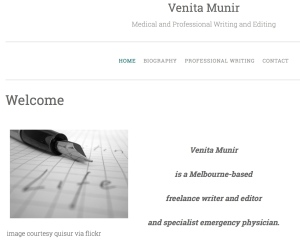 screenshot of Venita Munir homepage